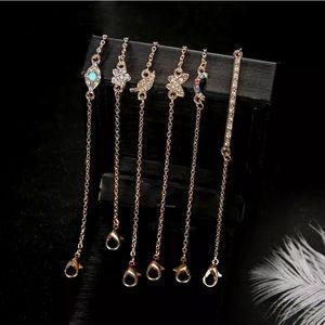 Rhinestone fashion jewelry set of 6 bracelets - OS